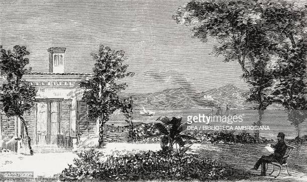 Garden in front of the palace of the former viceroy of Egypt on the Asian side of the Bosphorus Italian Embassy in Istanbul Turkey drawing by Edoardo...