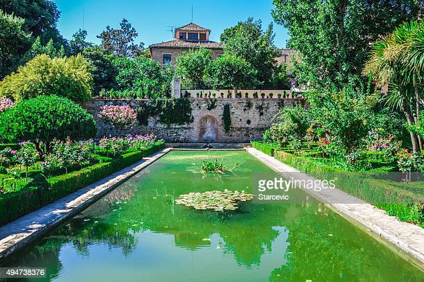 garden in the alhambra - granada spain landmark stock pictures, royalty-free photos & images