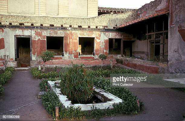 Garden in the courtyard of the Roman Villa the House of the Stags Herculaneum Italy