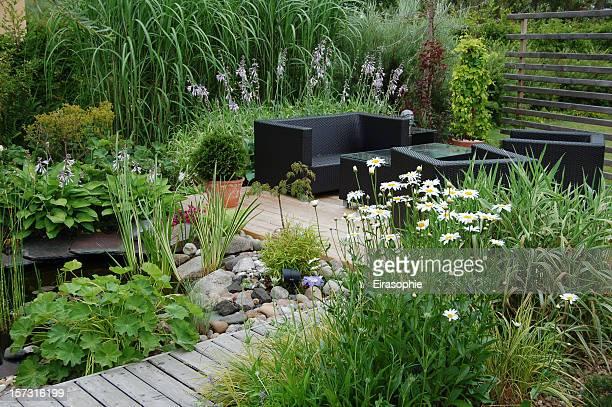 garden lounge - show garden stock photos and pictures