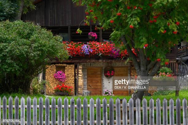 Garden of a traditional Canazei house Val di Fassa TrentinoAlto Adige Italy