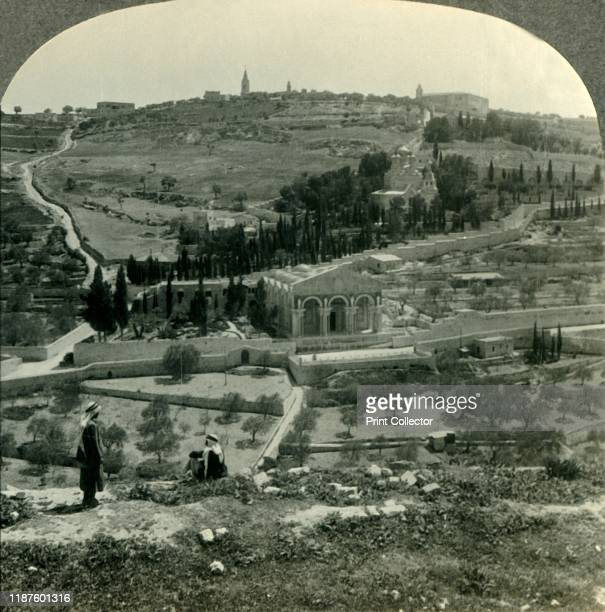 Garden of Gethsemane and Mount of Olives from the Golden Gate Jerusalem Palestine' circa 1930s The Garden of Gethsemane is the place where Jesus...