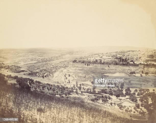 Garden of Gethsemane and View of Jerusalem, 1860s. Artist John Anthony.