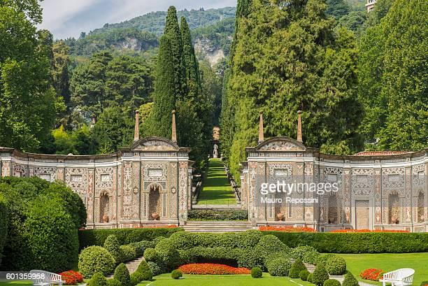 garden of hotel villa d´este at cernobbio, lake como, italy. - lake como stock pictures, royalty-free photos & images
