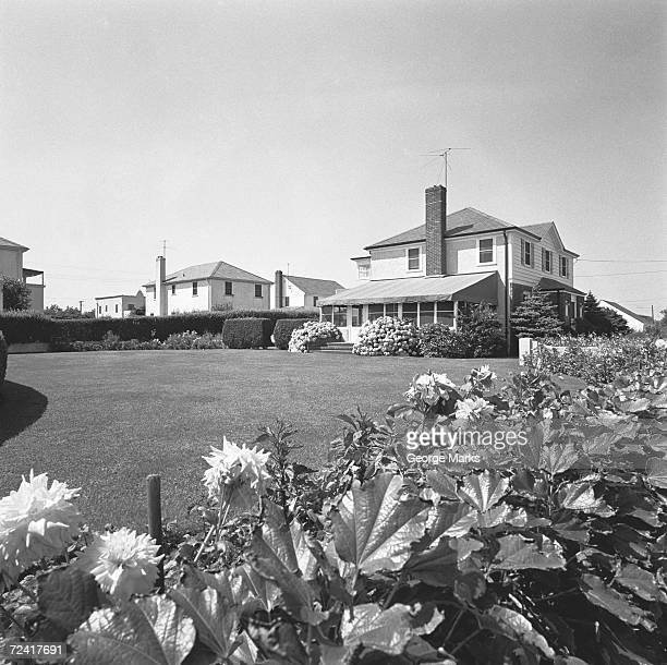 Garden of large house, (B&W)