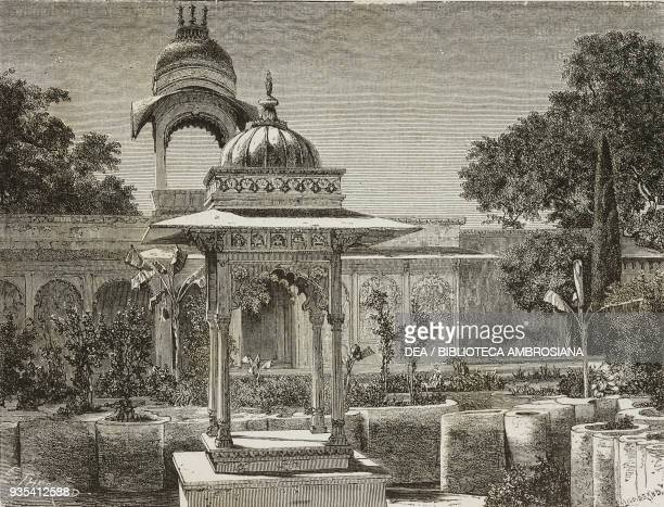 Garden on the island of Jag Niwas Udaipur engraving from India travel in Central India and Bengal by Louis Rousselet