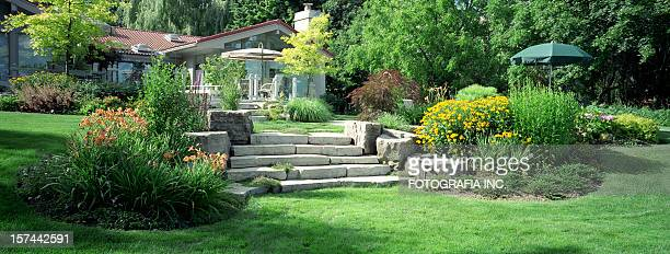 garden panorama - grounds stock pictures, royalty-free photos & images