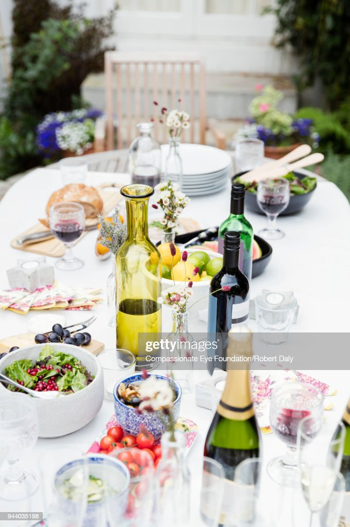 Garden party lunch on patio table : Stock Photo