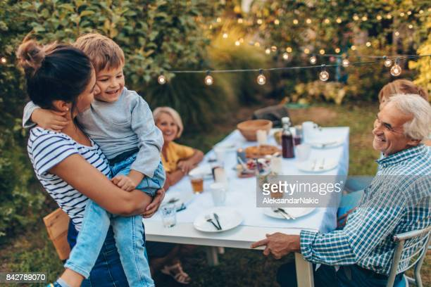 garden party with family - kids thanksgiving stock pictures, royalty-free photos & images
