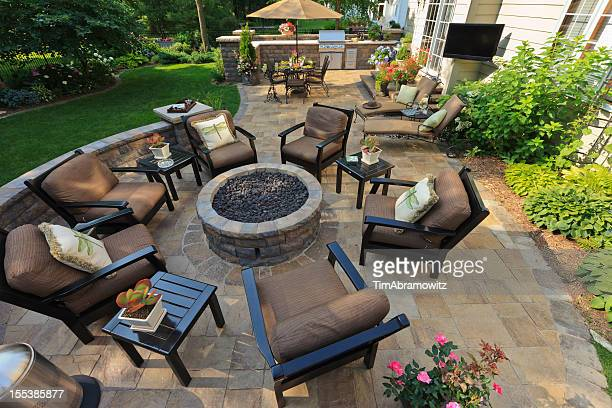 garden patio - fire pit stock pictures, royalty-free photos & images