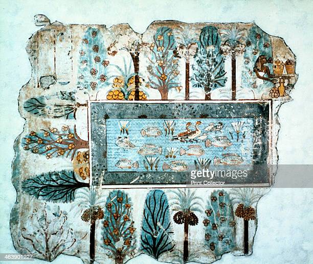 fragment of wall painting Egyptian 18th Dynasty c1350 BC Tomb painting of a pool full of ducks lotus flowers and tilapia fish papyrus grows along the...