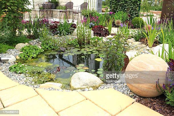 garden scene - pond stock pictures, royalty-free photos & images
