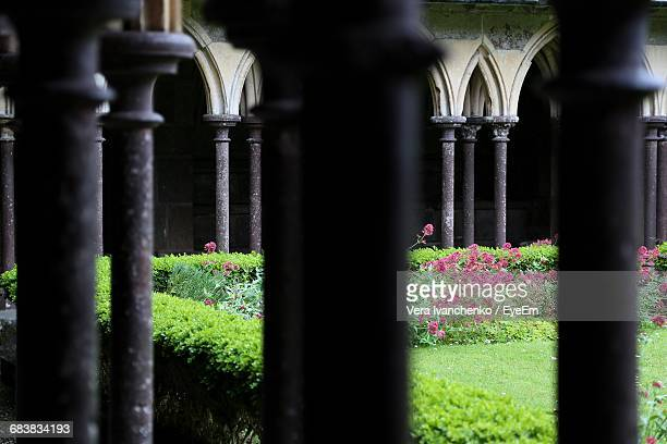 Garden Seen Through Cloister Of Mont-Saint-Michel Abbey