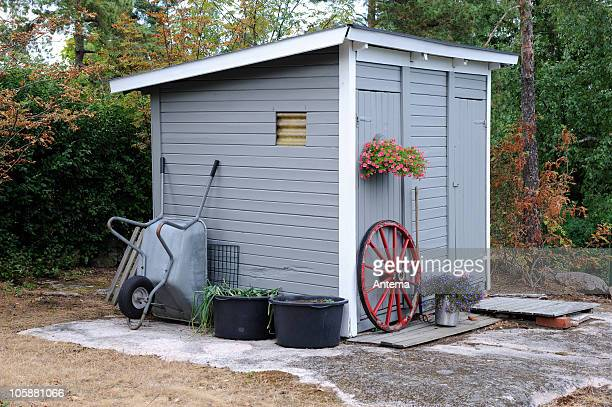 garden shed in grey - shack stock pictures, royalty-free photos & images