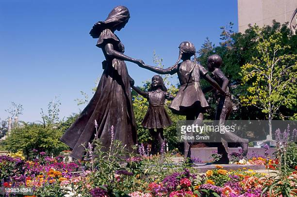 garden statuary, latter day saints temple square, temple square, salt lake city, utah, united states - latter stock pictures, royalty-free photos & images