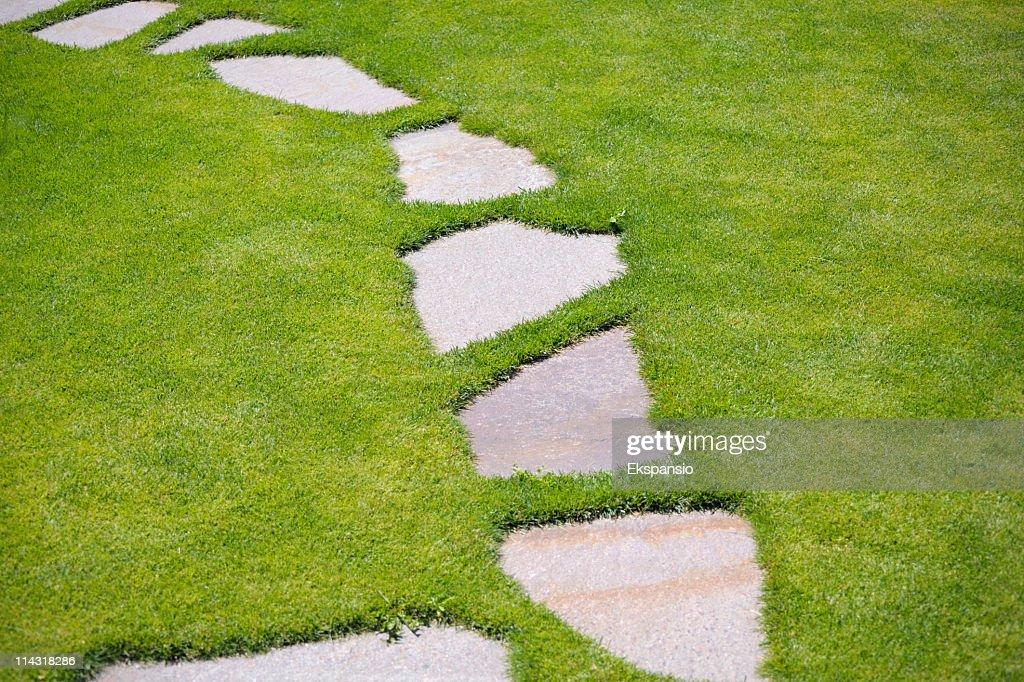 Garden Stepping Stone Path Through Green Grass Lawn : Stock Photo