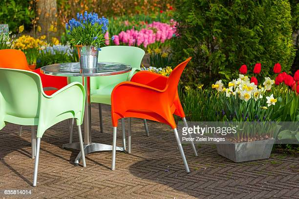 Garden table and chairs in the spring