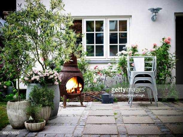 garden terrace - pot plant stock pictures, royalty-free photos & images