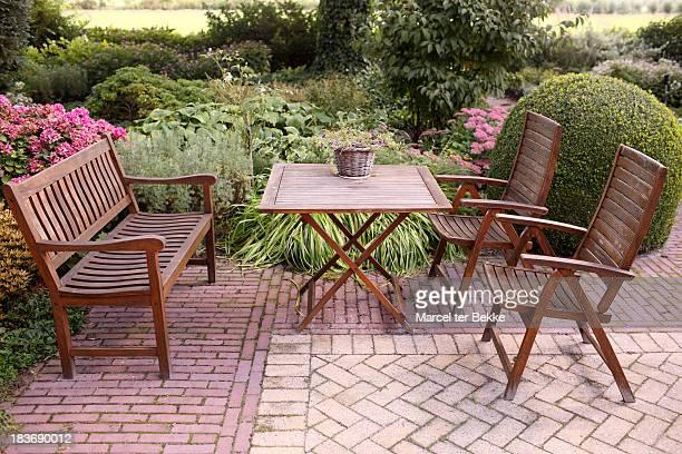 Garden terrace with teak furniture