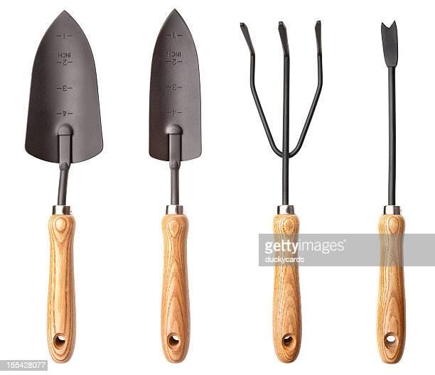 garden tool set - tiller stock photos and pictures