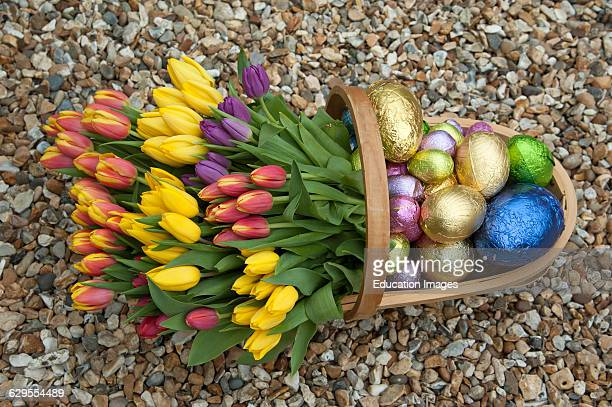 Garden trug with Spring flowers and Easter eggs