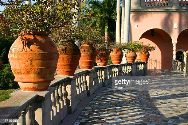 garden walkway at ringling museum - sarasota stock photos and pictures
