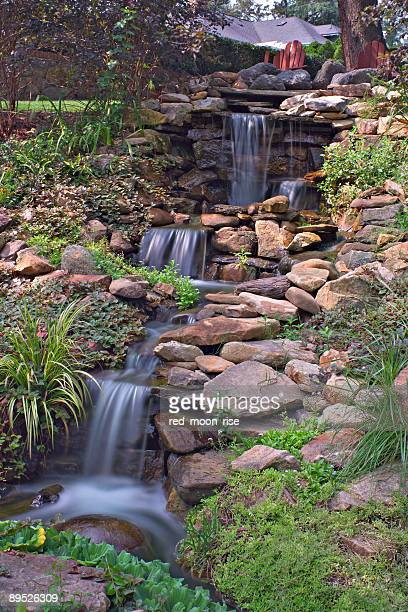 garden waterfall long exposure - charlotte long stock pictures, royalty-free photos & images