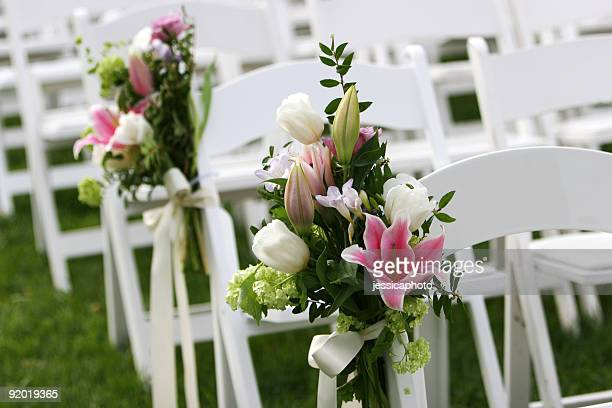 garden wedding scene at outdoor marriage ceremony - wedding ceremony stock pictures, royalty-free photos & images