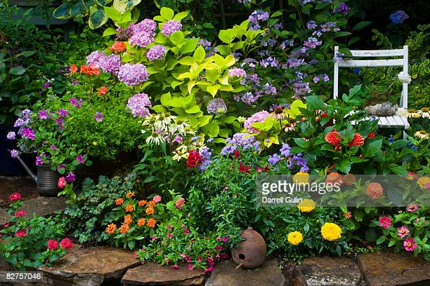 garden with chair - abundance stock pictures, royalty-free photos & images