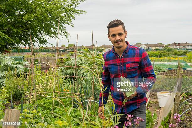Gardener at his allotment.