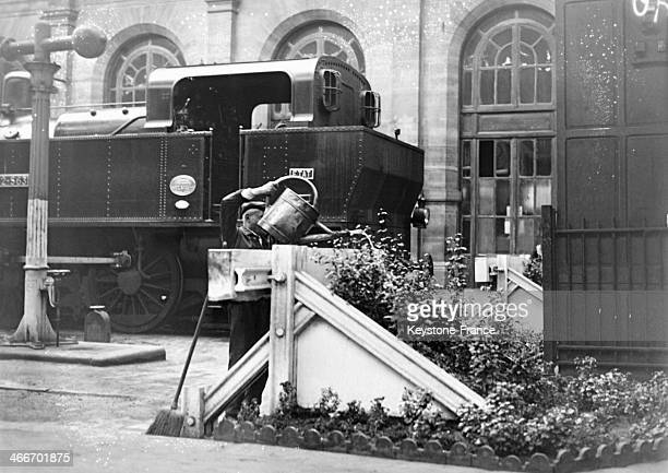 Gardener in the Gare Montparnasse in August 1929 in Paris France