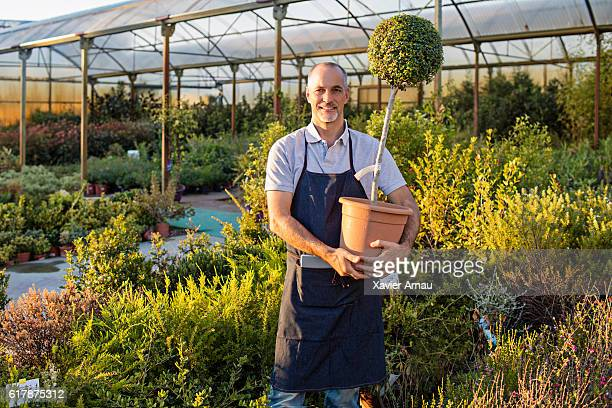 Gardener with a pot plant working at nursery