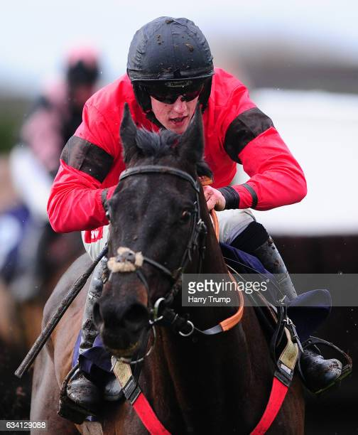 Gardeners Hill ridden by Ciaran Gethings jump the last to win the Play Casino at 188Bet Handicap Steeple Chase at Hereford Racecourse on February 7...