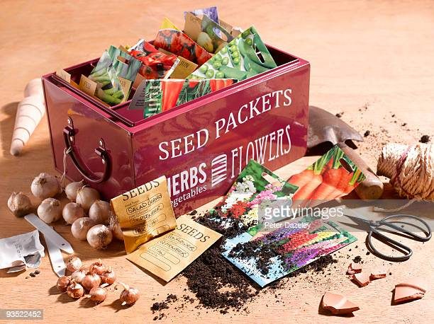 gardeners seed box in potting shed. - sachet stock pictures, royalty-free photos & images