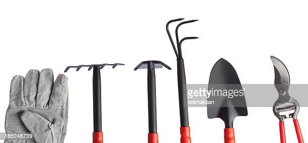 gardening equipments on white background - tongs work tool stock photos and pictures