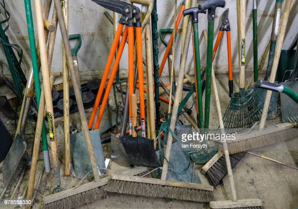 Gardening tools are left in a shed at Mount Grace Priory ahead of a media event to launch a new arts and craft style garden created by garden...
