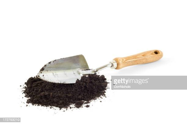 Gardening Trowel and Dirt Isolated