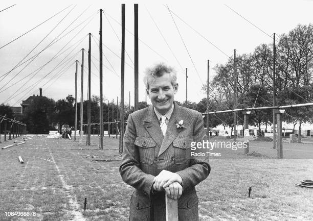 Gardening writer and television broadcaster Peter Seabrook photographed for Radio Times behind the scenes at the site of the Chelsea Flower Show...