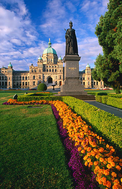 Gardens and statue in front of Parliament Buildings, Victoria, Canada