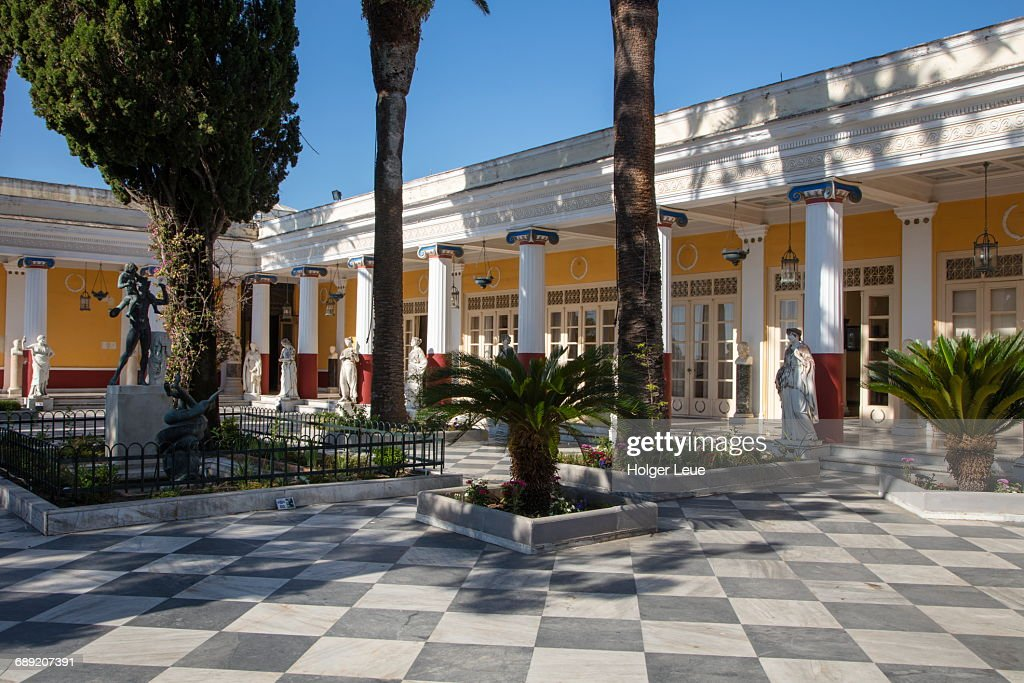 Gardens and terrace of Achilleion Palace : Stock Photo