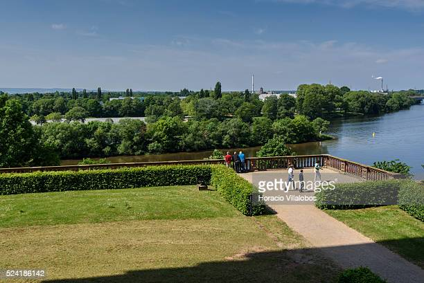 Gardens of Schloss Johannisburg in Aschaffenburg Germany 14 May 2015 one of the most important buildings of the Renaissance period in Germany erected...