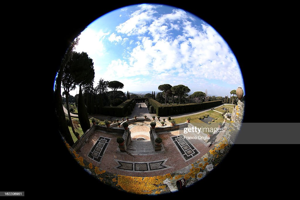 Gardens of the Pontifical residence of Castelgandolfo on February 20, 2013 in Rome, Italy. The Apostolic Palace and The Ponifical Villas of Castelgandolfo, 10 miles south Rome, are the summer residence of Popes and will host Pope Benedict XVI during the next conclave.