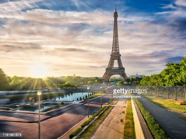 gardens of the trocadero with eiffel tower at sunrise, paris, france - エッフェル塔 ストックフォトと画像