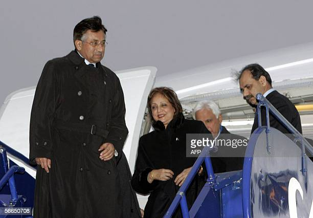 Pakistani president Pervez Musharraf and his wife Begum Sehba Musharaf desembark after arrival in Oslo airport Gardermoen 23 January 2006 AFP PHOTO...