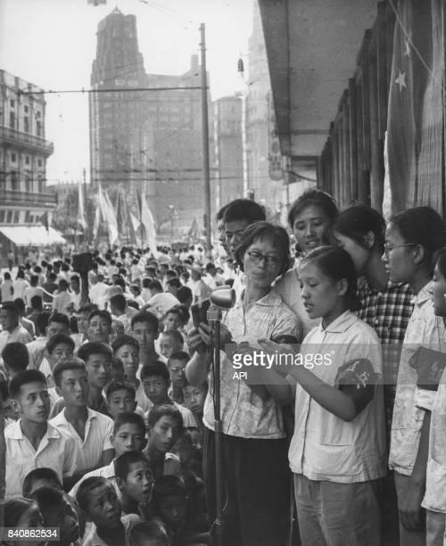 Gardes rouges à Shanghai mobilisent la foule pour défendre la Révolution culturelle le 17 septembre 1966 Chine