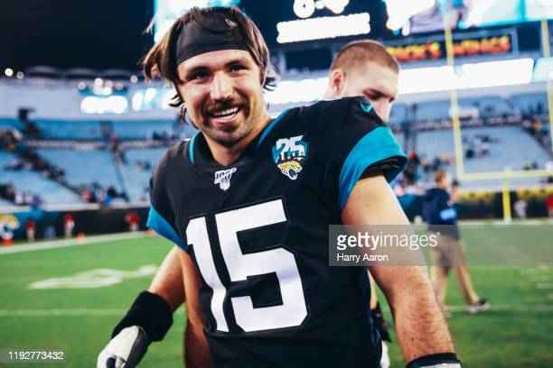 Gardner Minshew II of the Jacksonville Jaguars leaves the field after a loss to the Los Angeles Chargers at TIAA Bank Field on December 08 2019 in...