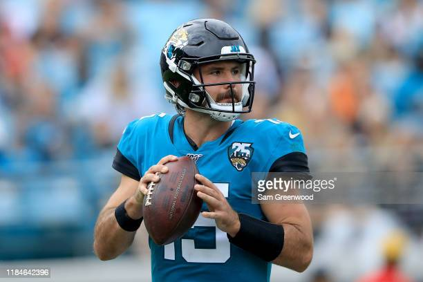 Gardner Minshew of the Jacksonville Jaguars attempts a pass during the game against the New York Jets at TIAA Bank Field on October 27 2019 in...