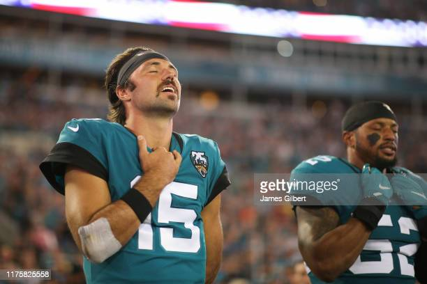 Gardner Minshew of the Jacksonville Jaguars awaits the start of a game against the Tennessee Titans at TIAA Bank Field on September 19 2019 in...
