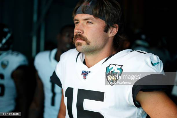Gardner Minshew of the Jacksonville Jaguars before their game against the Carolina Panthers at Bank of America Stadium on October 06 2019 in...