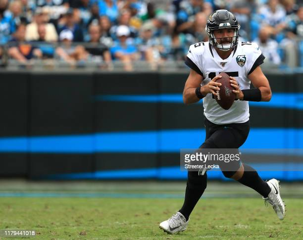 Gardner Minshew of the Jacksonville Jaguars drops back to pass against the Carolina Panthers during their game at Bank of America Stadium on October...